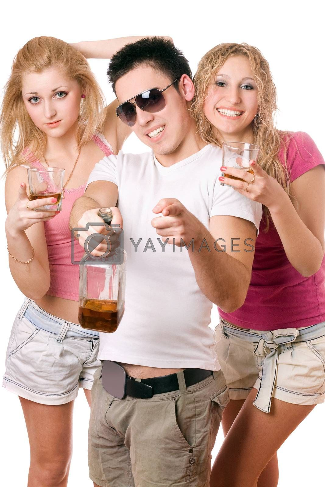 Happy young people with a bottle of whiskey. Isolated