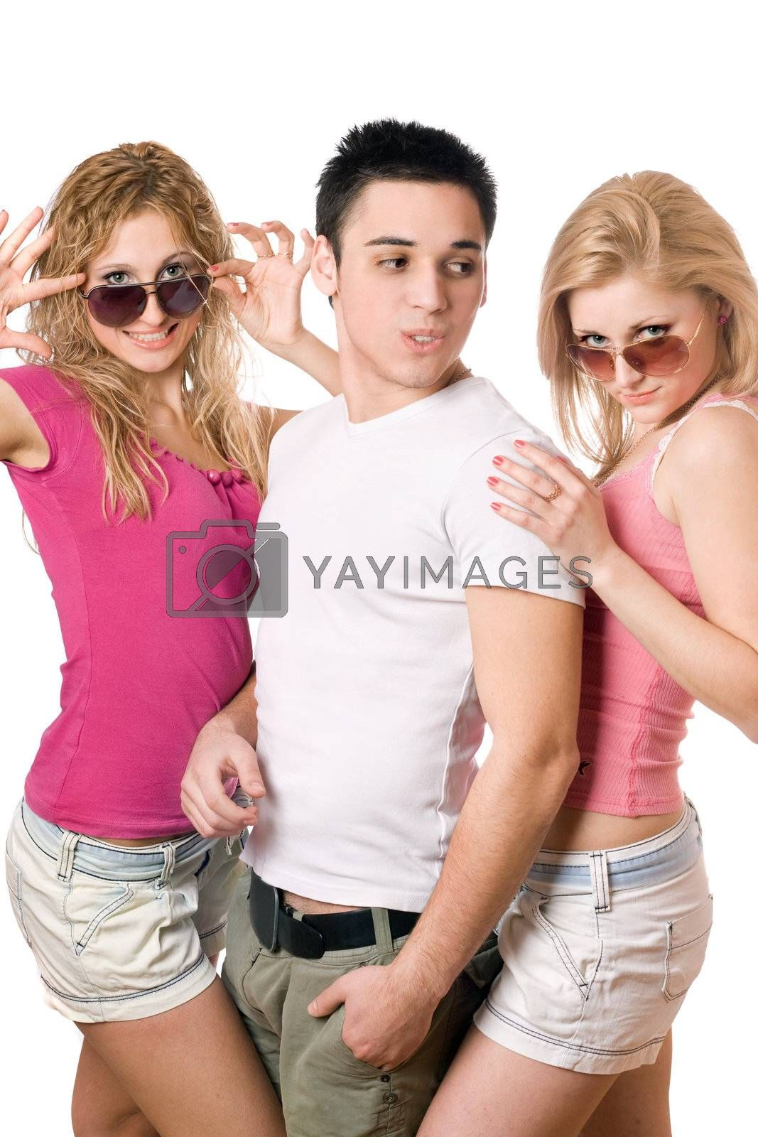 Portrait of a two happy blonde women with handsome young man
