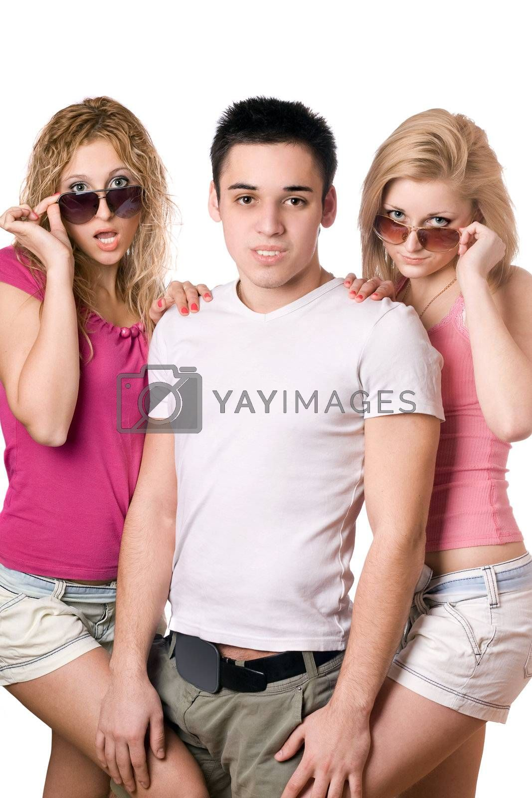 Portrait of a two sensual blonde women with handsome young man