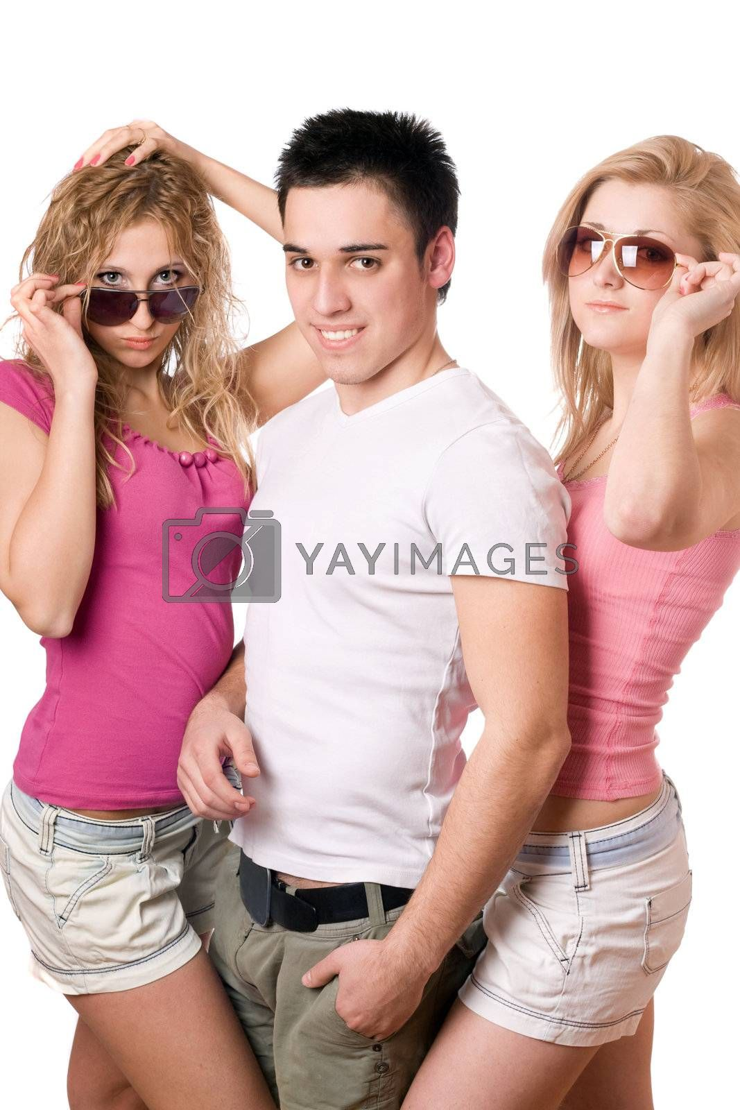 Portrait of a two blonde women with handsome young man