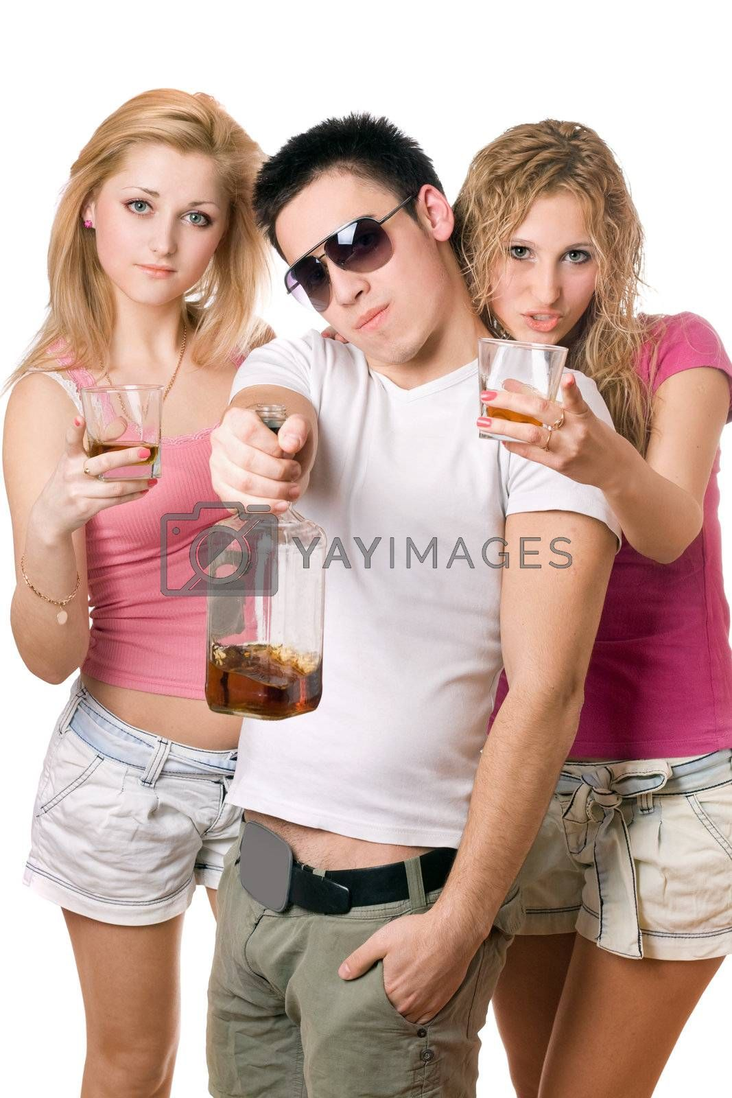 Young people with a bottle of whiskey. Isolated on white