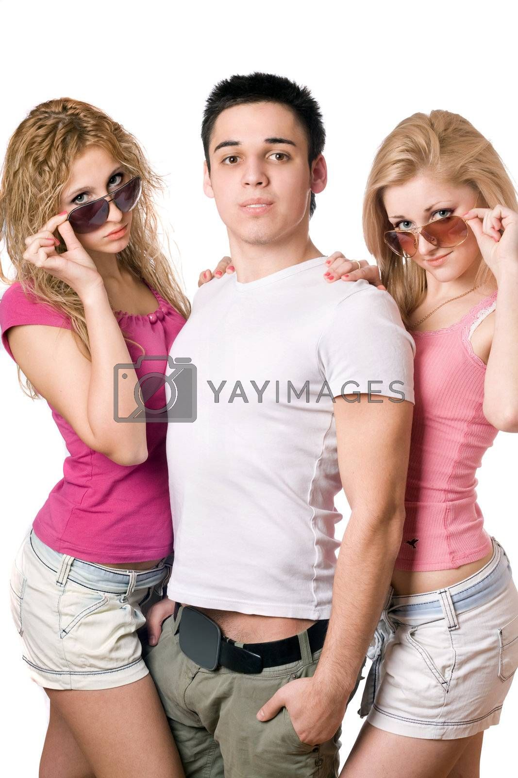 Portrait of a two beautiful blonde women with handsome young man