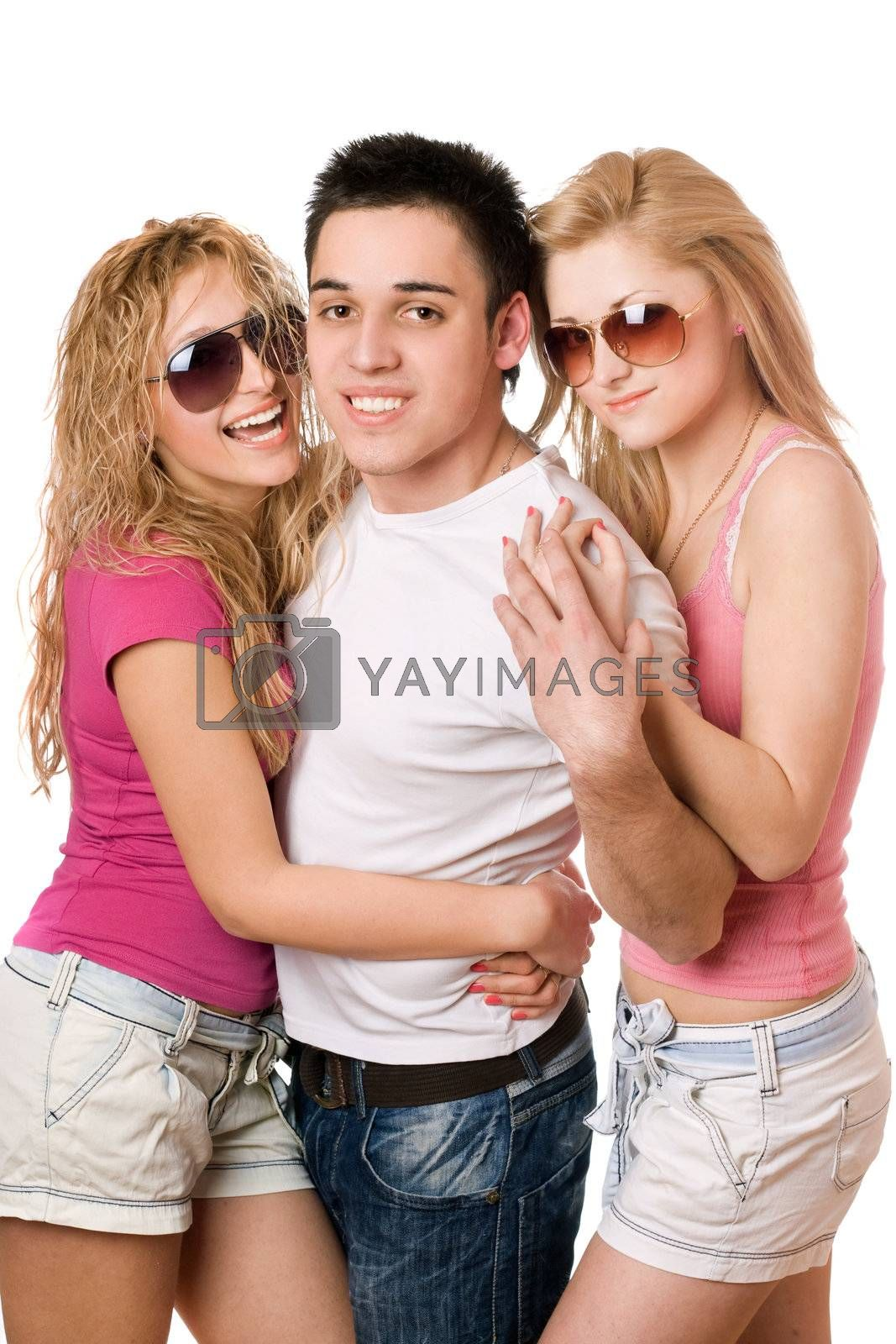 Portrait of a two joyful women and handsome young man