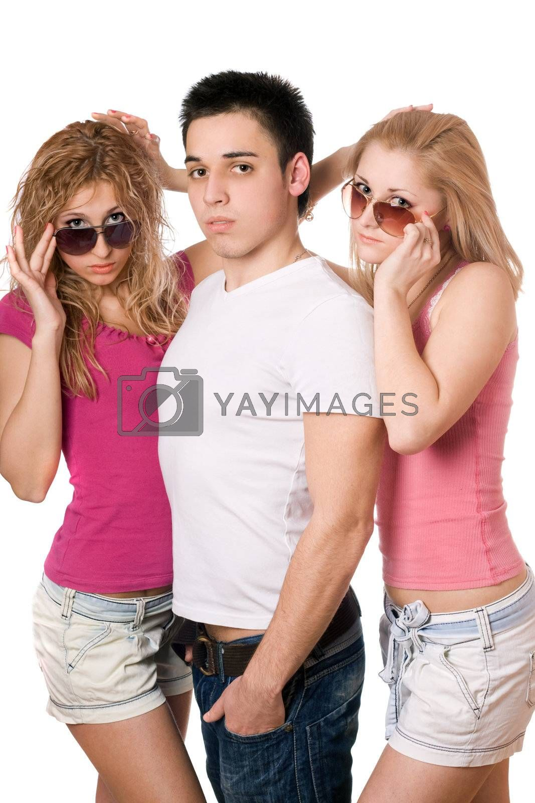 Portrait of a two sensual women and handsome young man