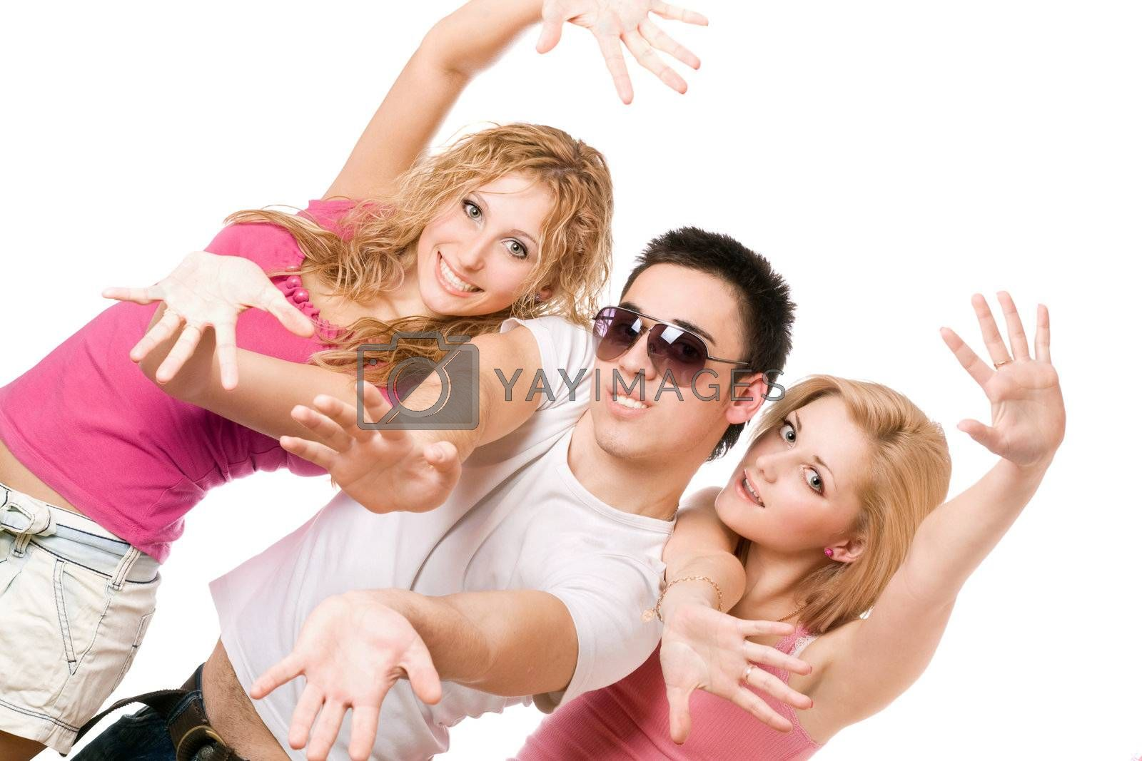 Portrait of two smiling blonde with handsome young man. Isolated