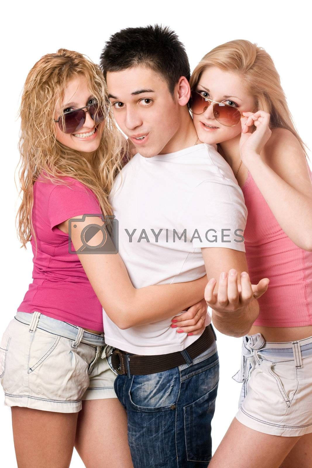 Portrait of a two playful women and handsome young man