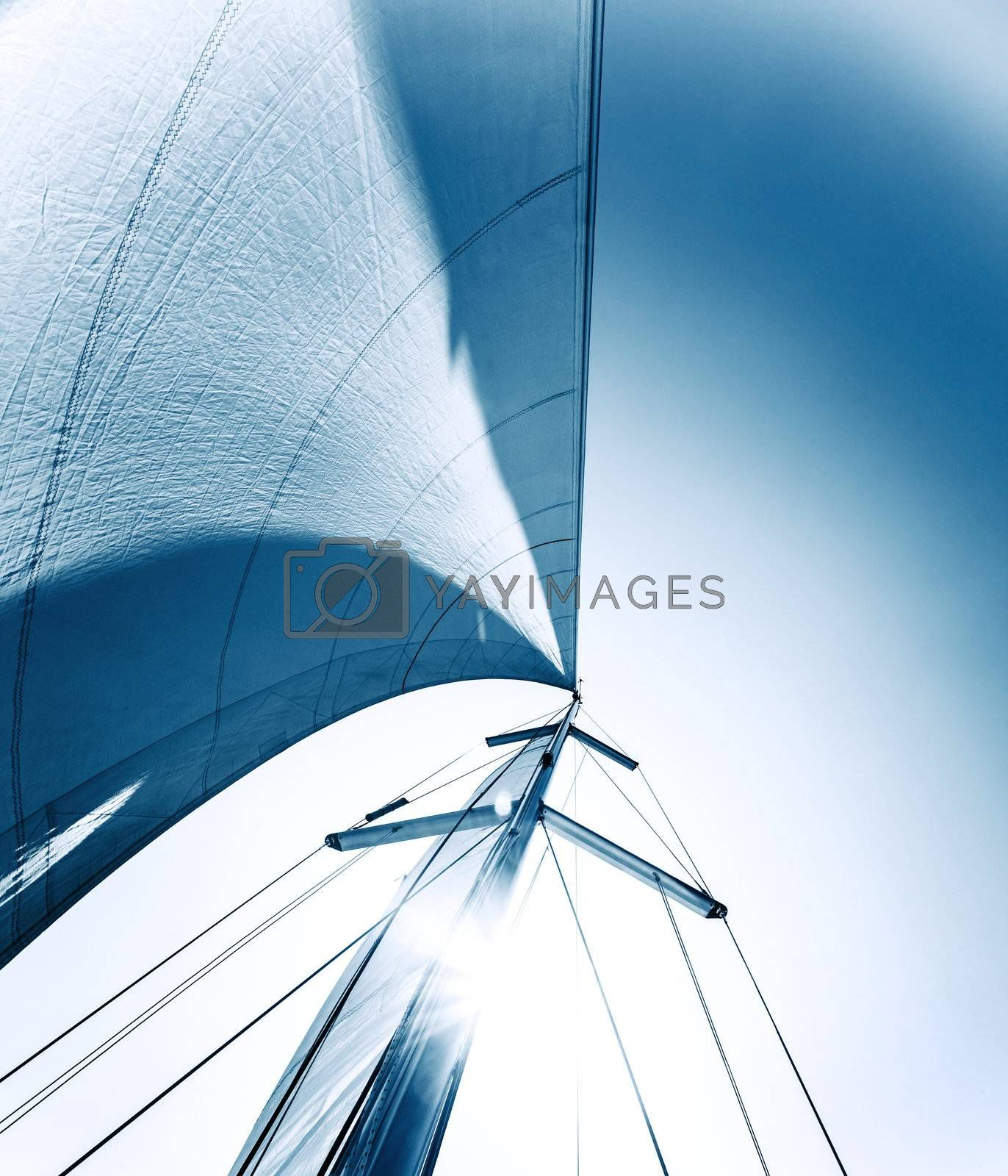Sailboat in action, big white sail raised over blue clear sky, luxury leisure, summertime activities and extreme sport, boat parts with sun rays, sailing trip vacation, freedom concept