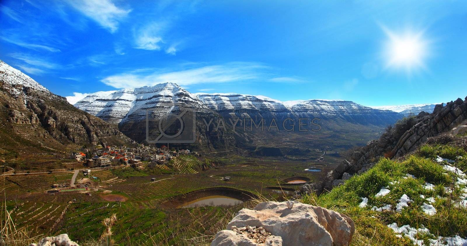 beautiful panoramic sping landscape with high mountains