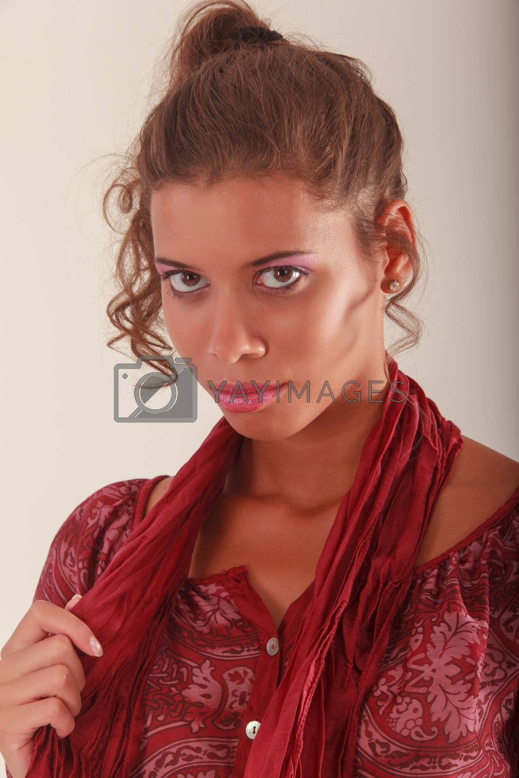 Young woman with scarf and trendy blouse