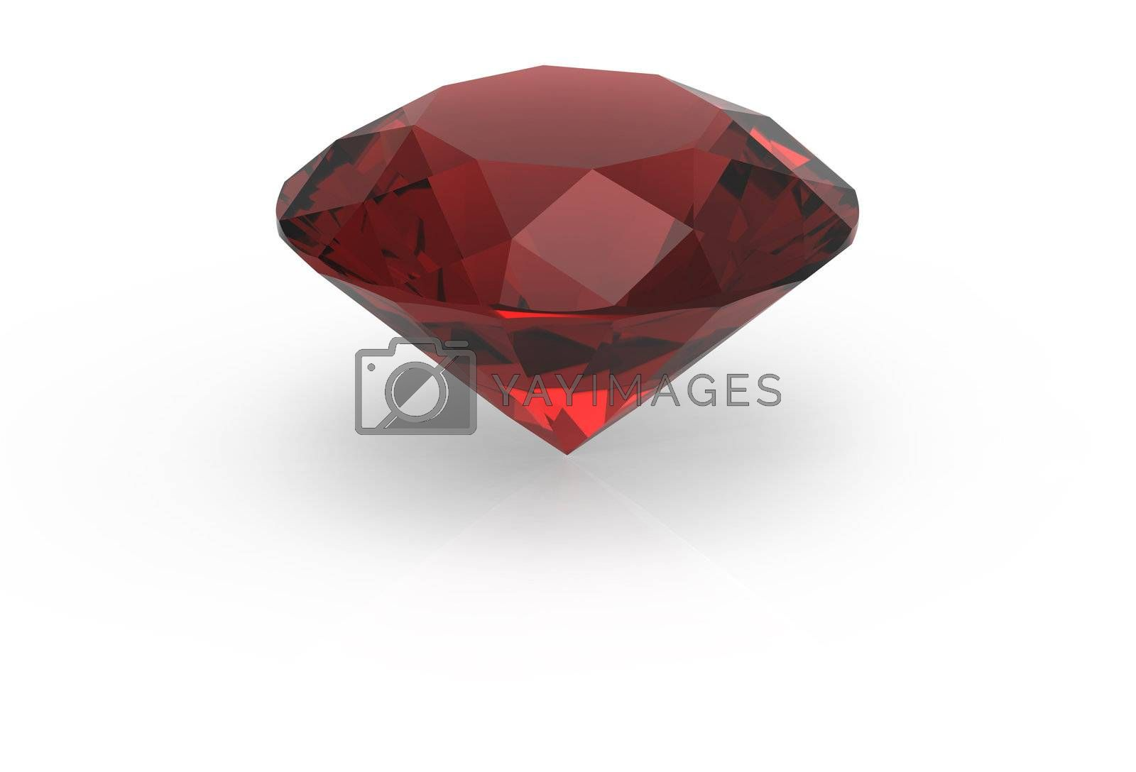 Red diamond ruby gemstone isolated on white with shadows