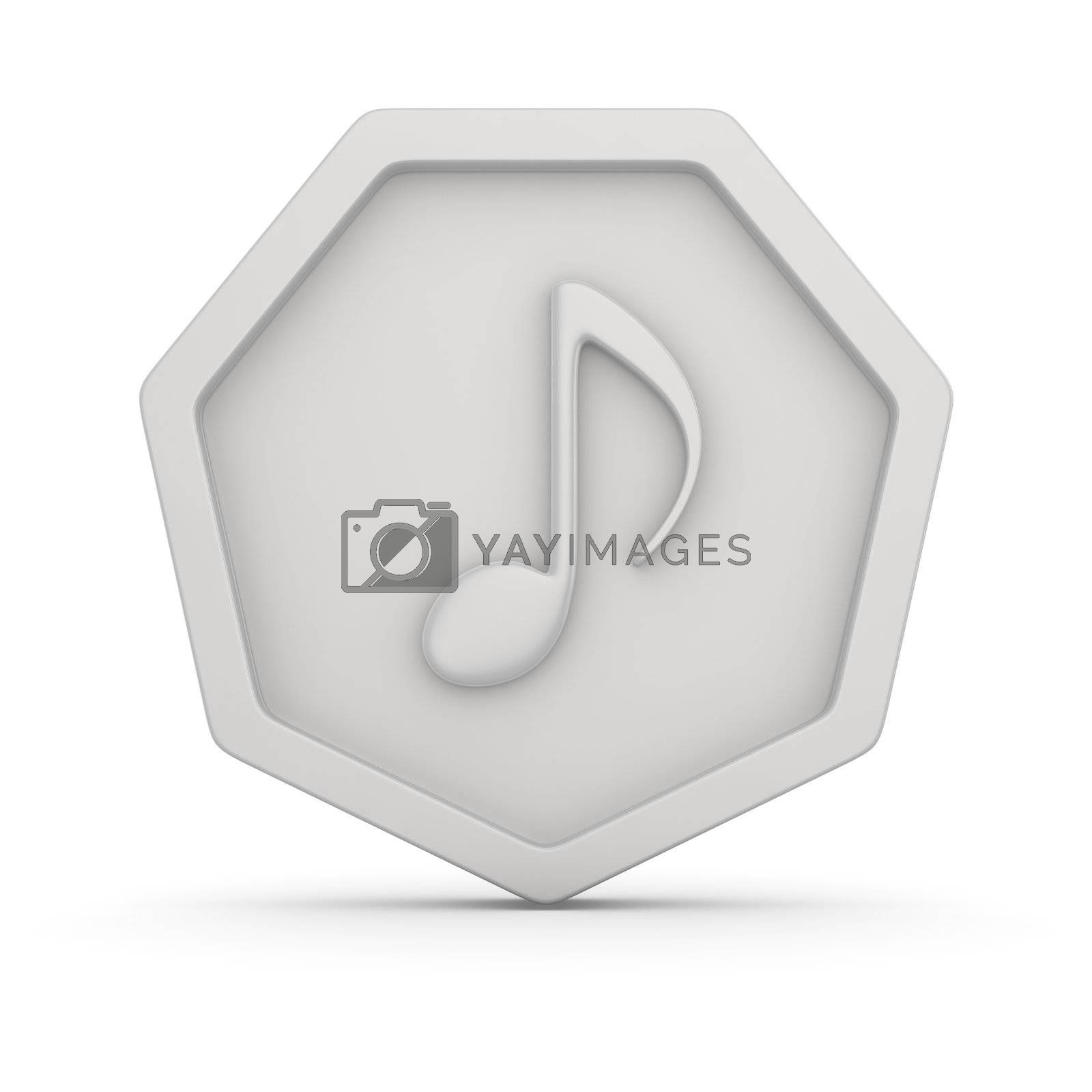 White badge with note symbol, music icon