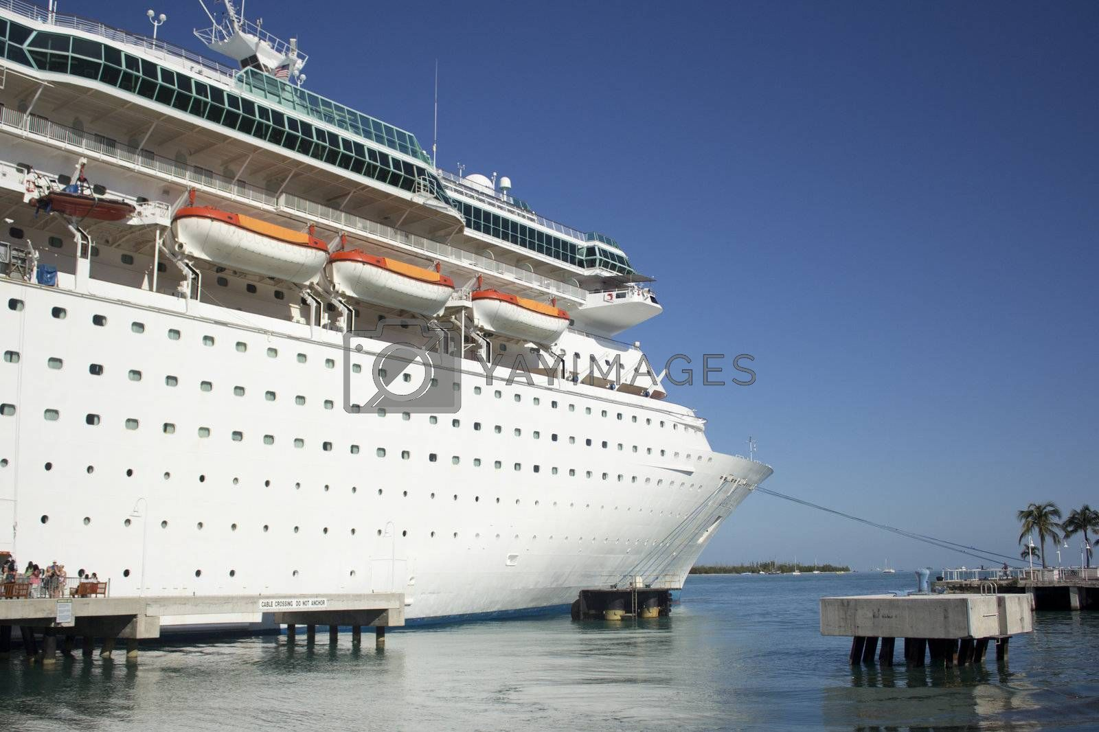 A very large cruise ship in a tropical location.