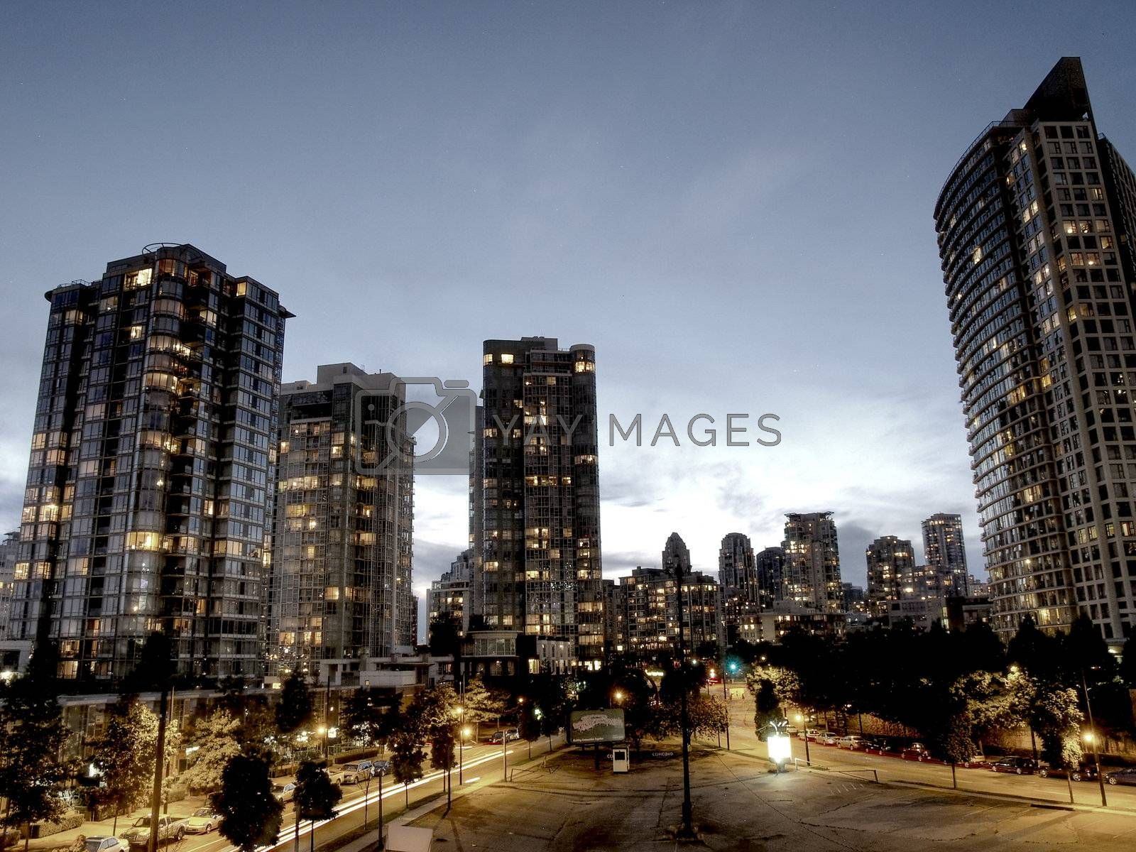 Towers of Vancouver city