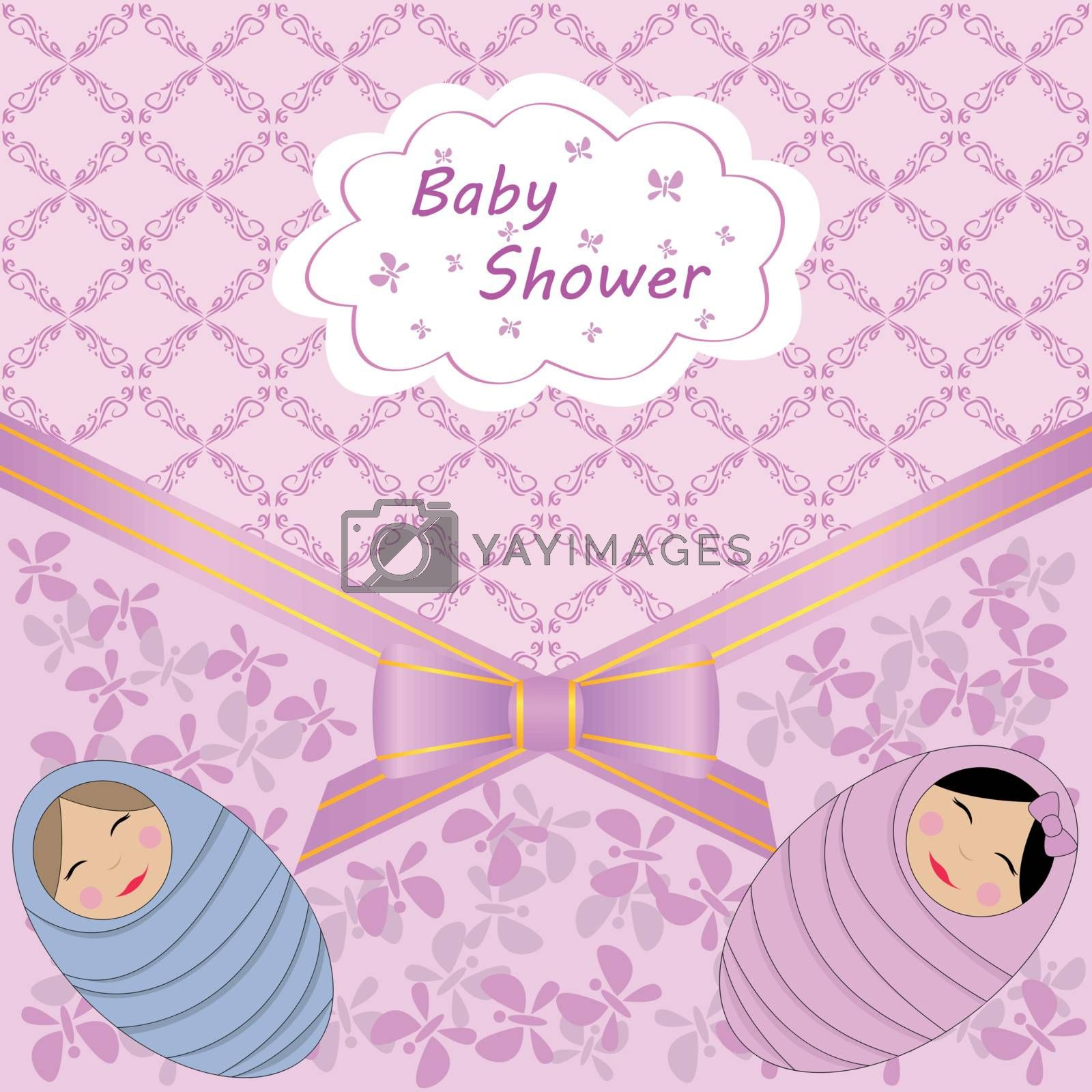 vector card celebration with baby shower two babies