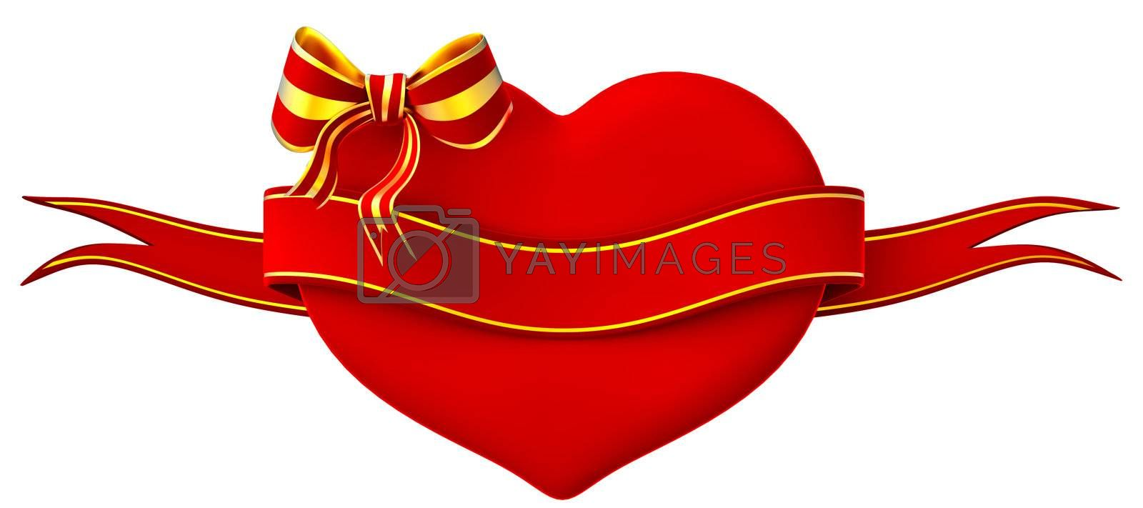 3D heart with bow and ribbon on a white background