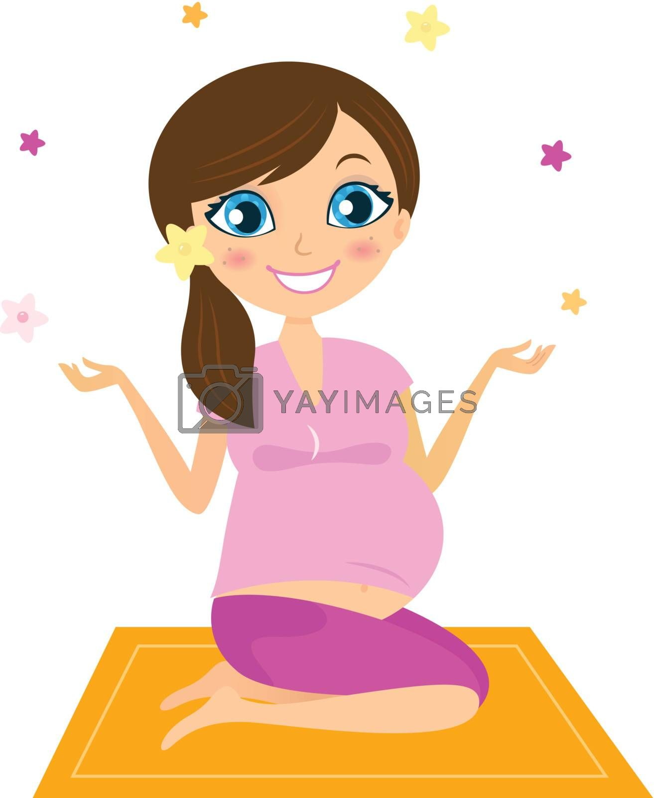 Woman sitting on mat and practicing yoga asana. Vector