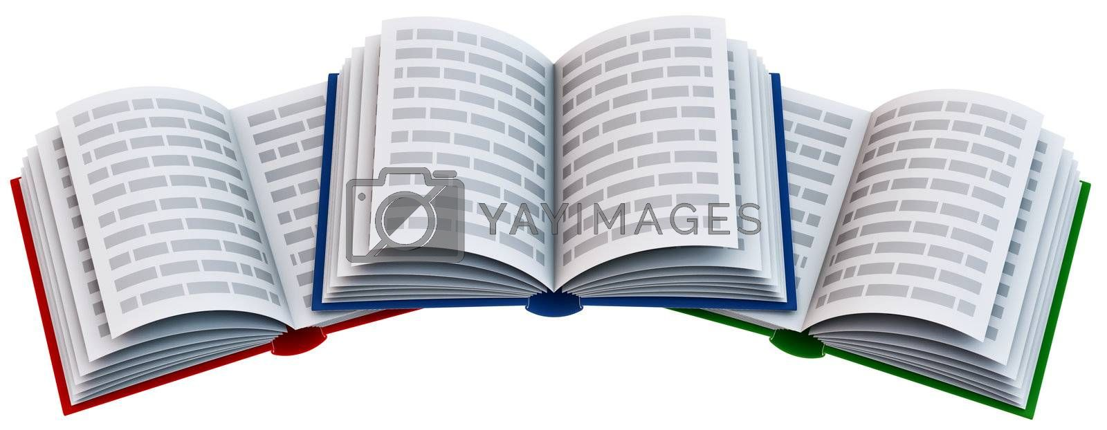 Group of open school books for education