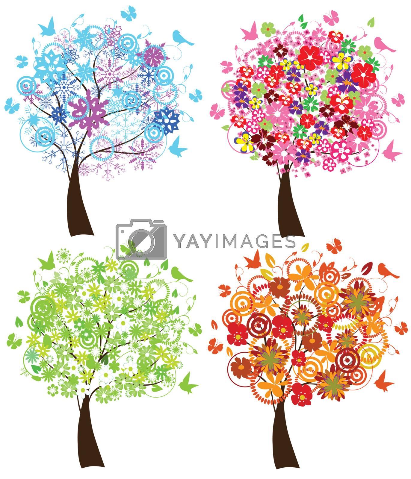 vector season trees