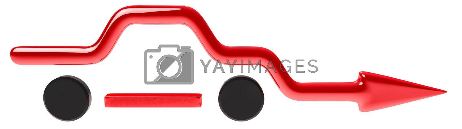 stylish curved arrow in the form of a car for business presentations on white background