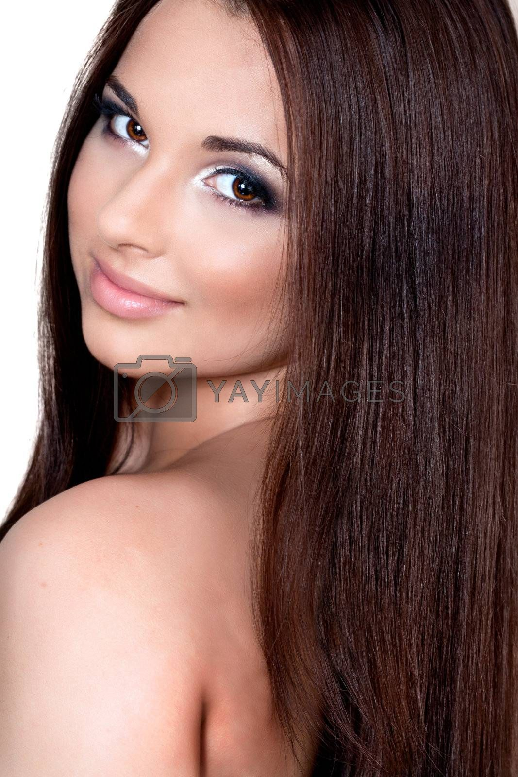 a close up portrait of a brunette beautiful girl