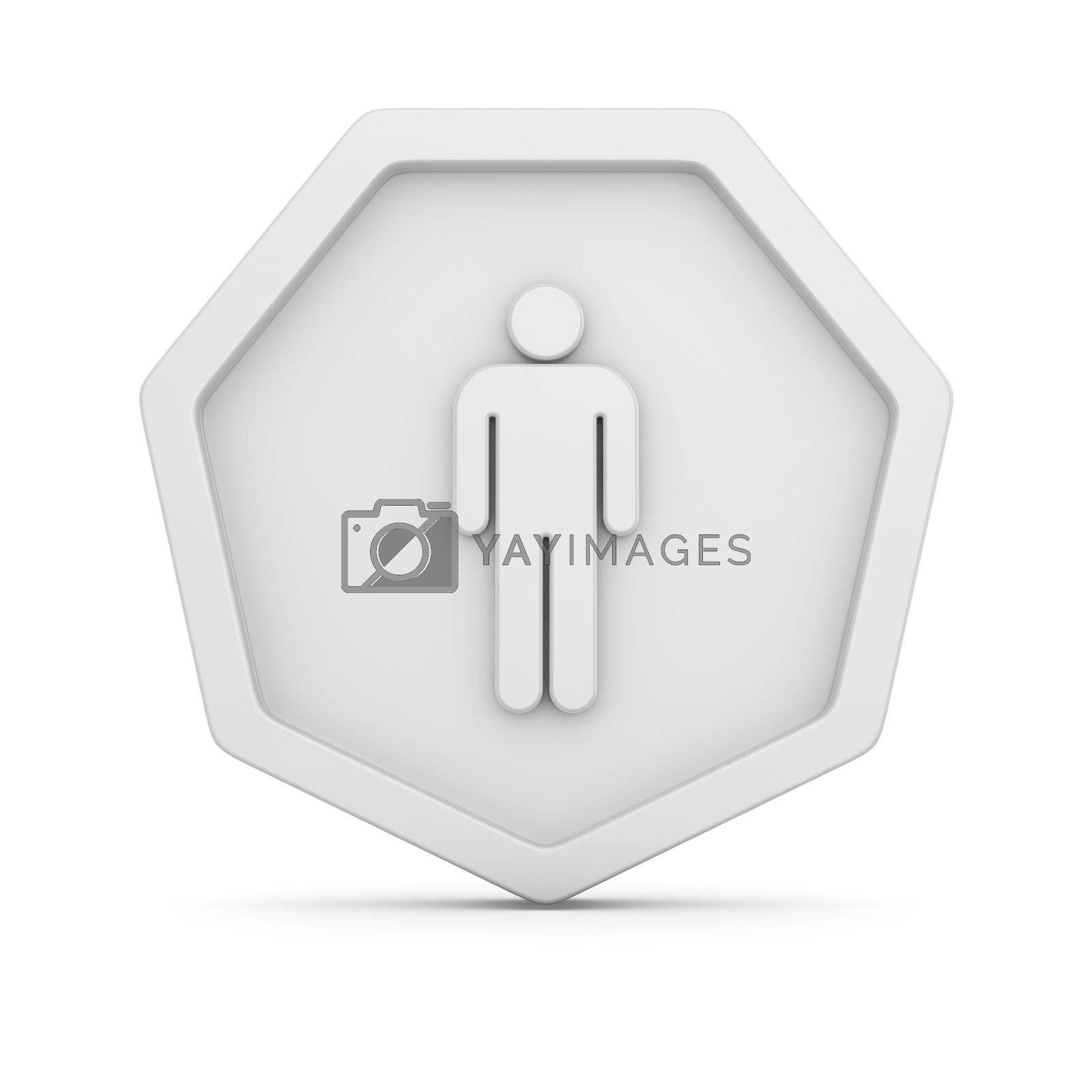 Image of male figure on the white badge