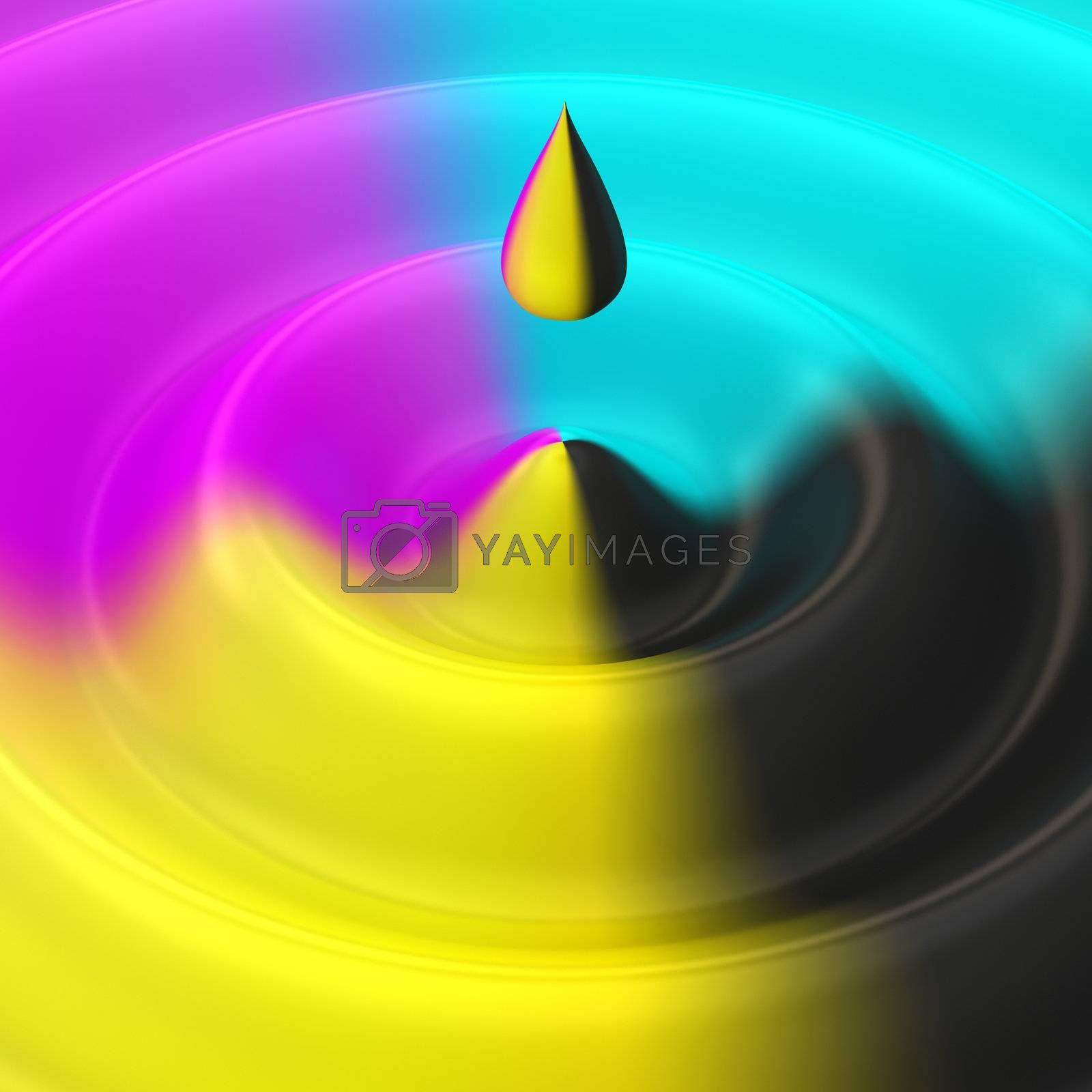 Drop and ripple on the liquid of cmyk colors