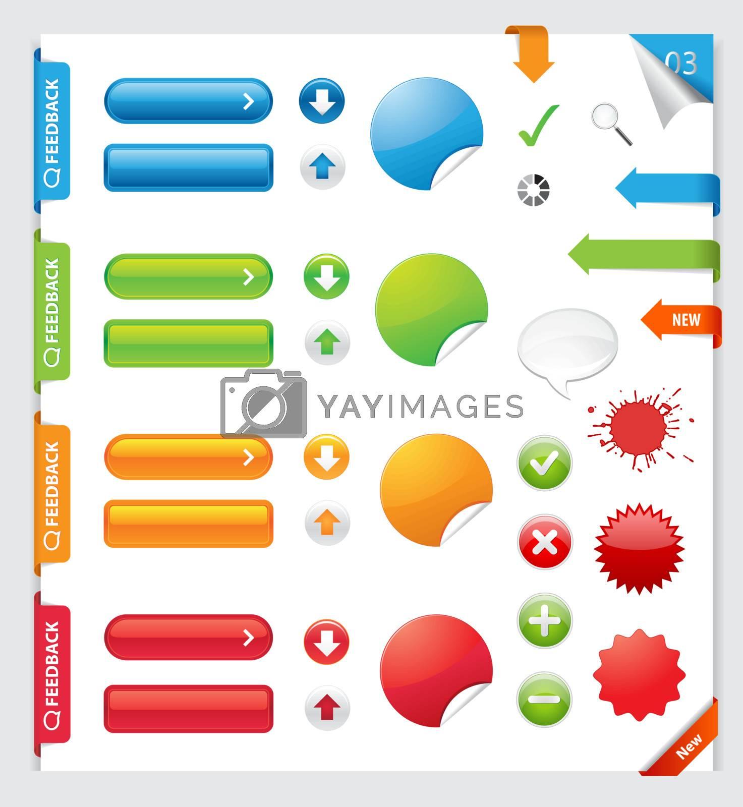 Website elements collection set. Banners, Buttons, Labels, Stickers. / Web Design Elements