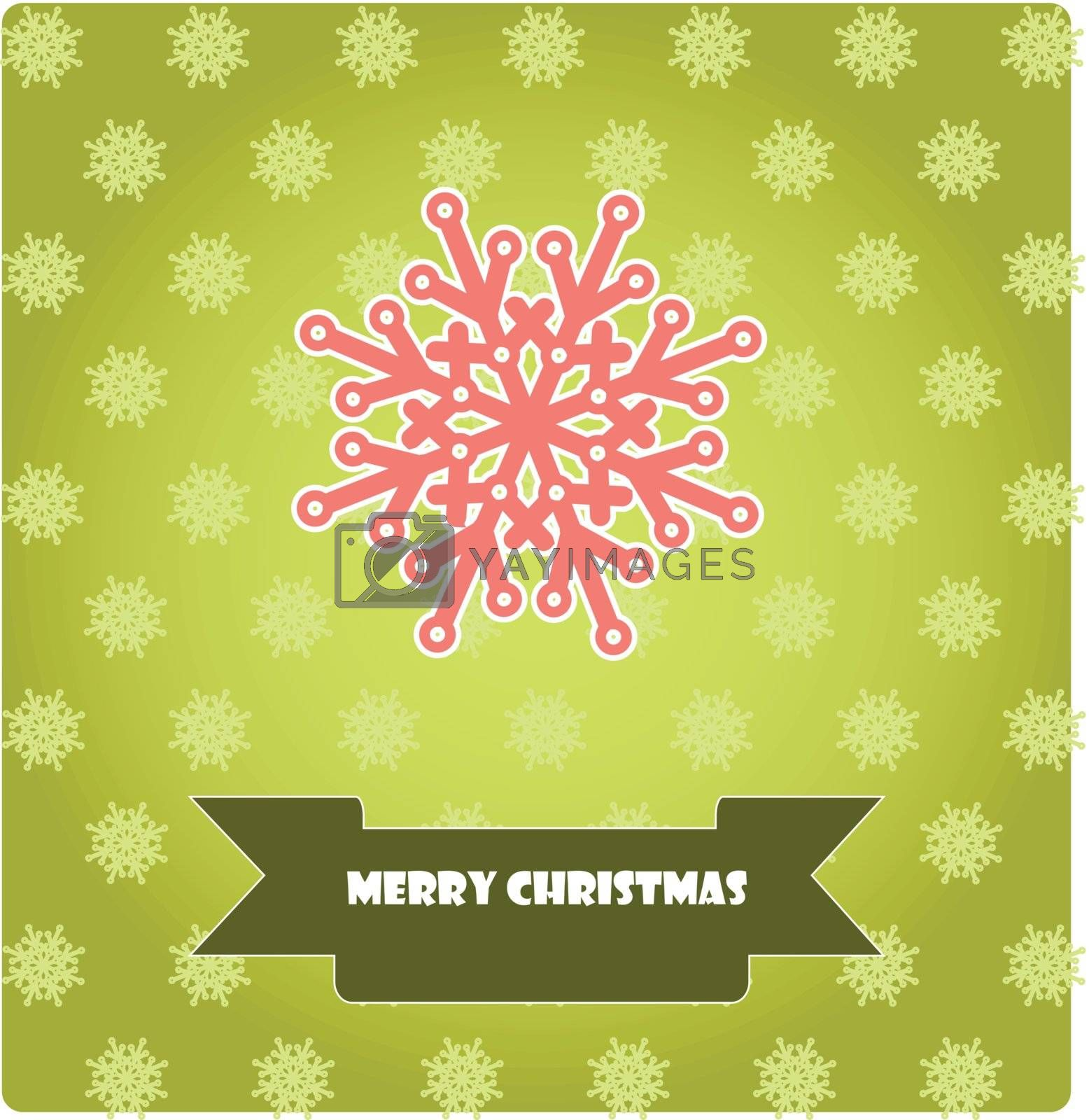 Merry Christmas card with a snowflake on the green background