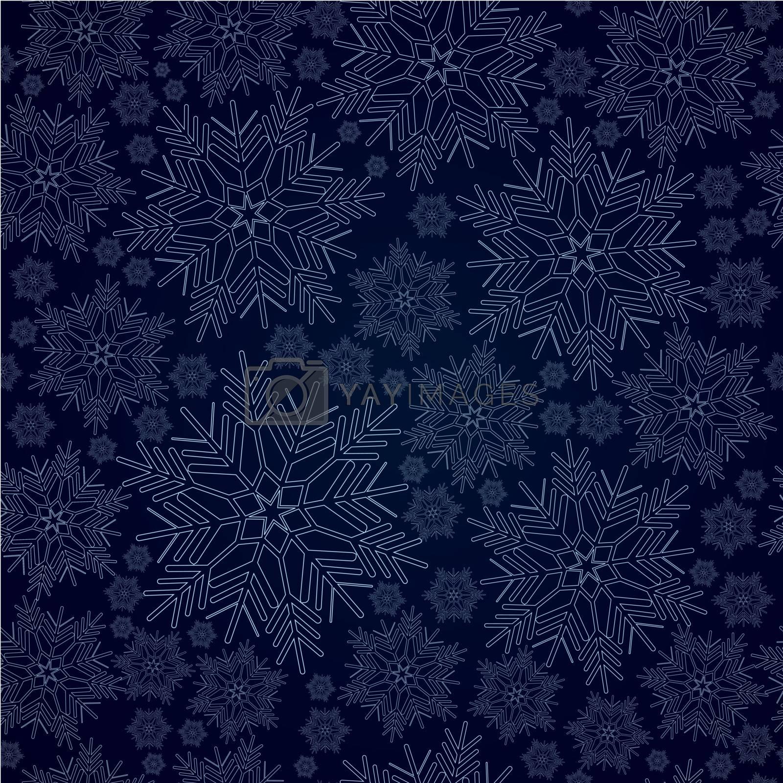 Vector illustration of snowflake seamless pattern on dark blue background