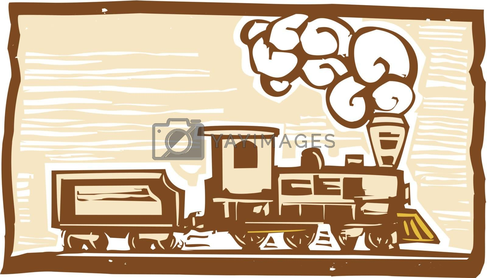 Woodcut style image of an early locomotive train.
