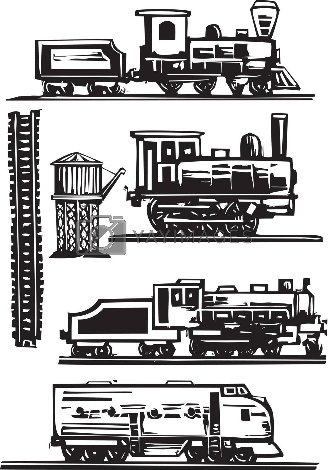Woodcut style images of railroad trains, water towers and tracks.