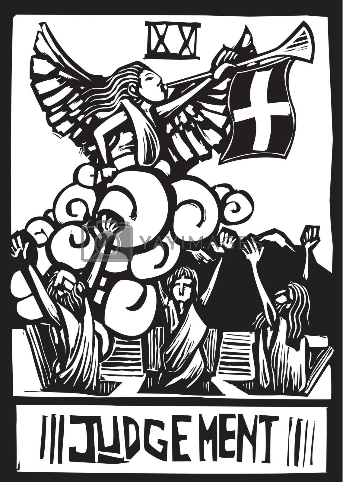 Woodcut expressionist style image for the Tarot card judgement.