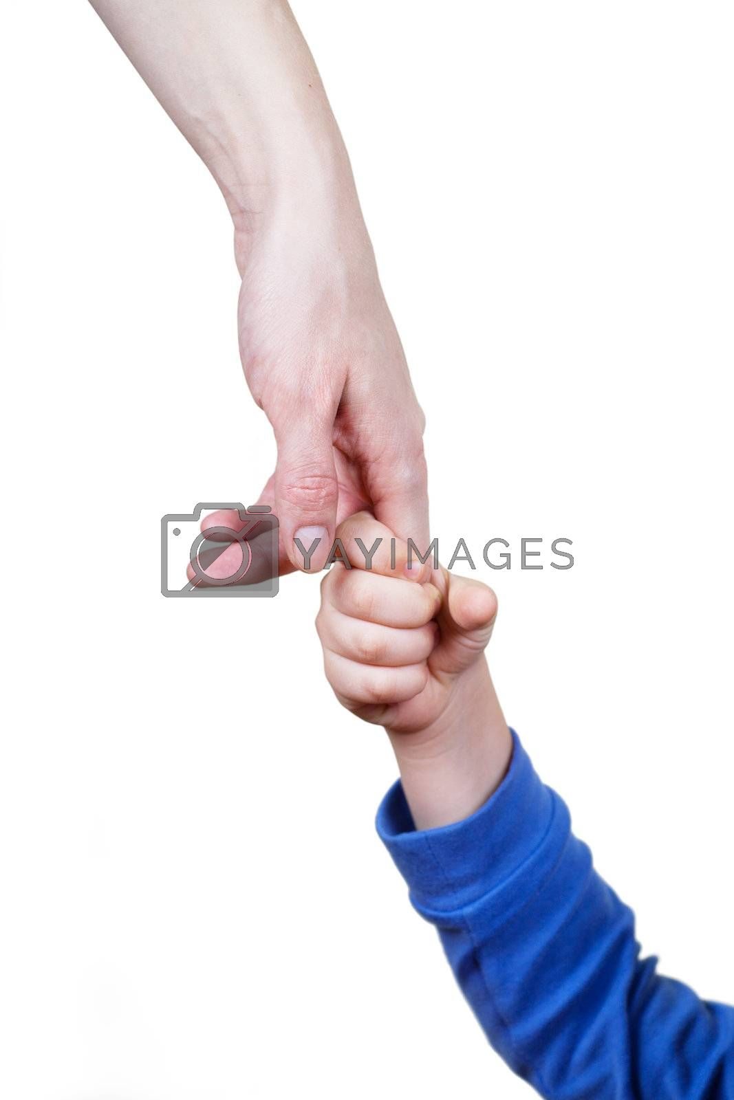 Mother holds her child hand over white background
