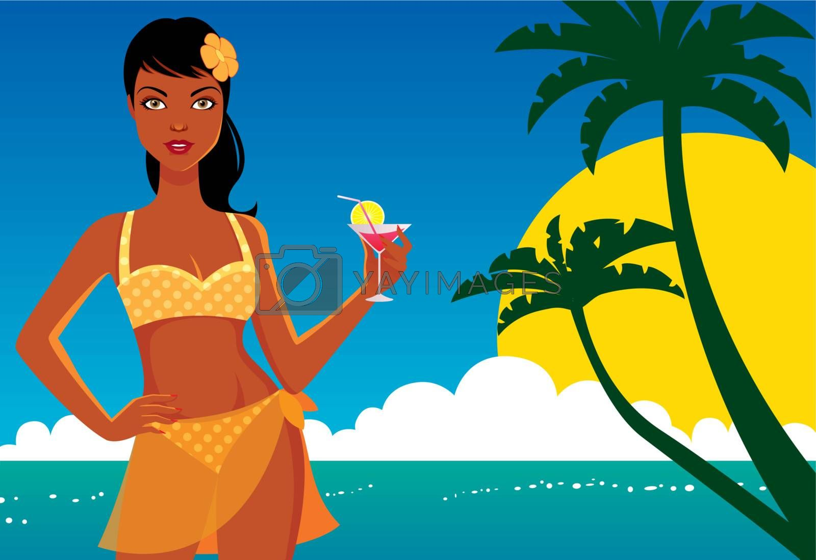 Beauty on the beach with a cocktail in his hand