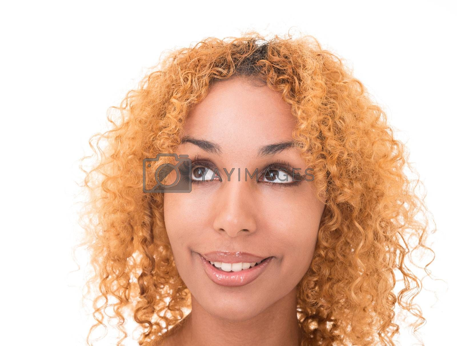 Portrait of attractive girl with curly golden hair