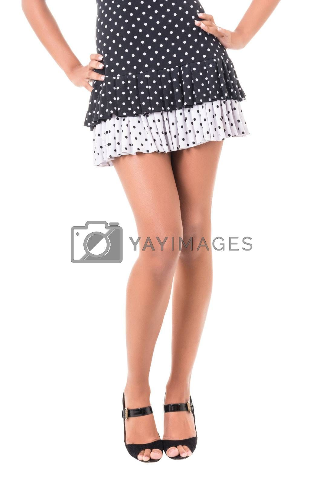 Female legs with high heels, isolated on white