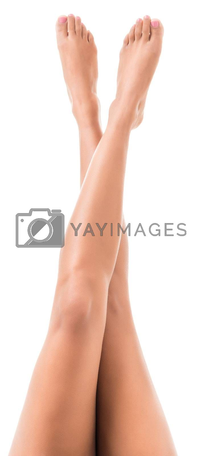 female crossed legs isolated on white background