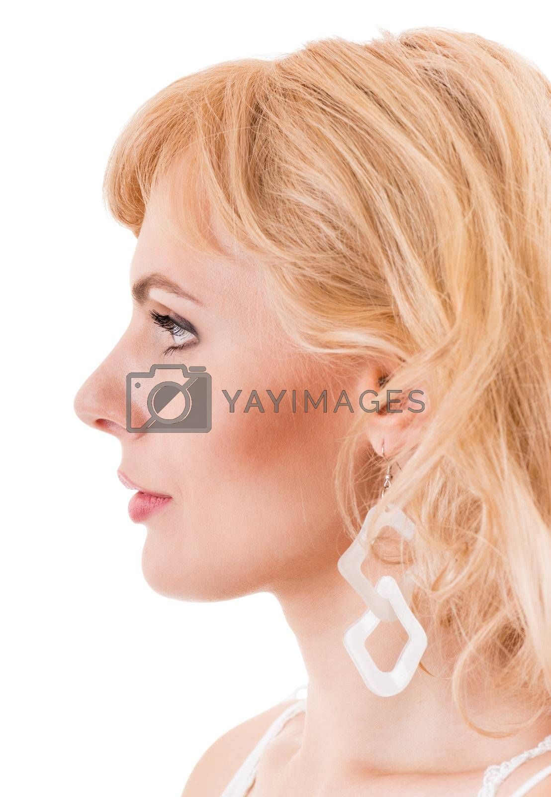profile of a young woman is very close