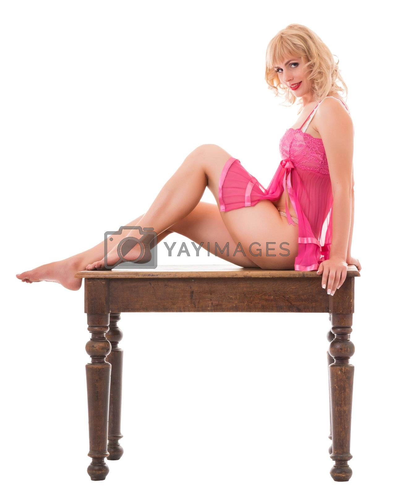 portrait of a young woman in pink underwear. Isolated with clipping path