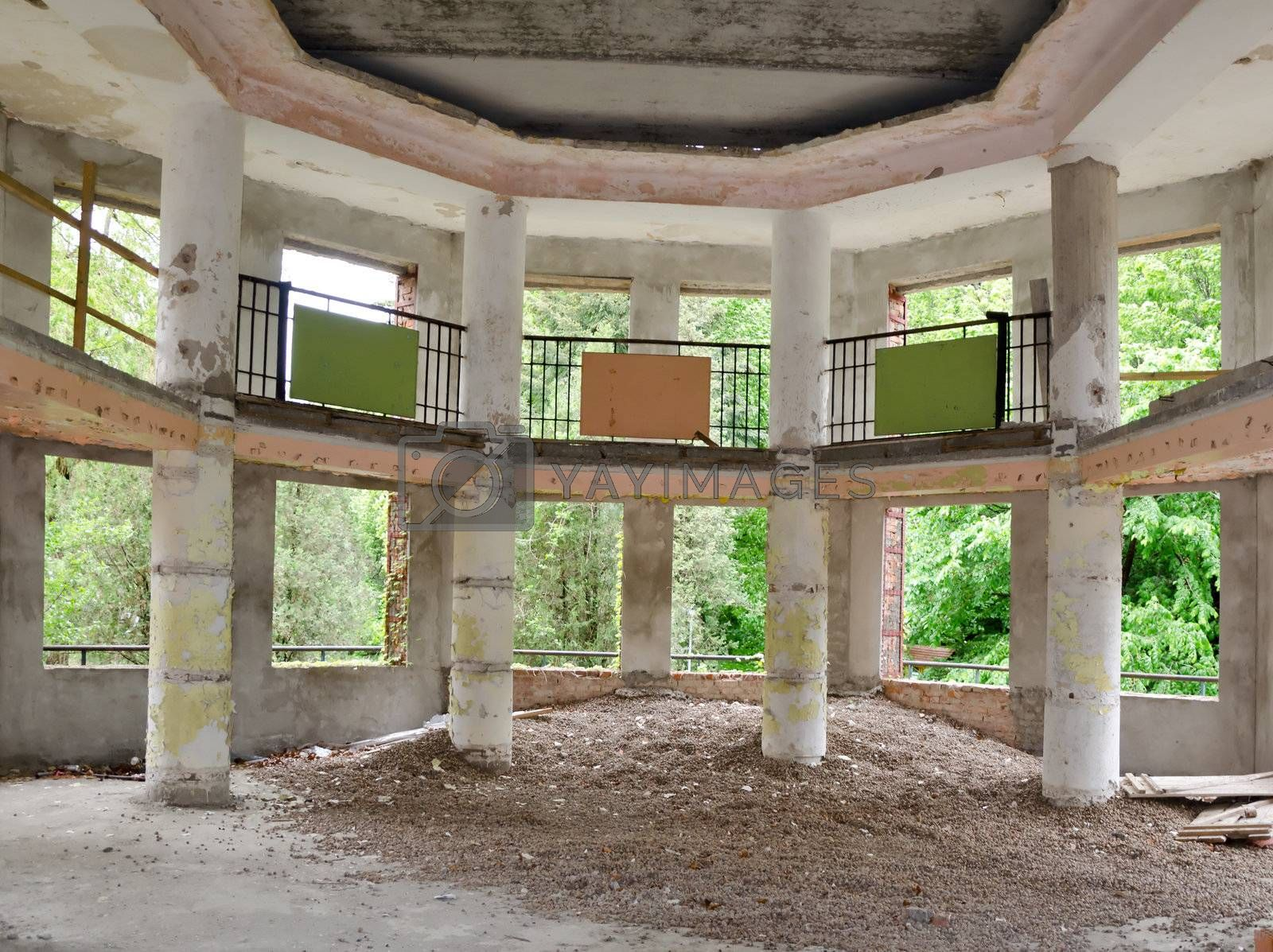 The building in the abandoned city of Pripyat in the Chernobyl nuclear disaster. The noise is a consequence of radiation may