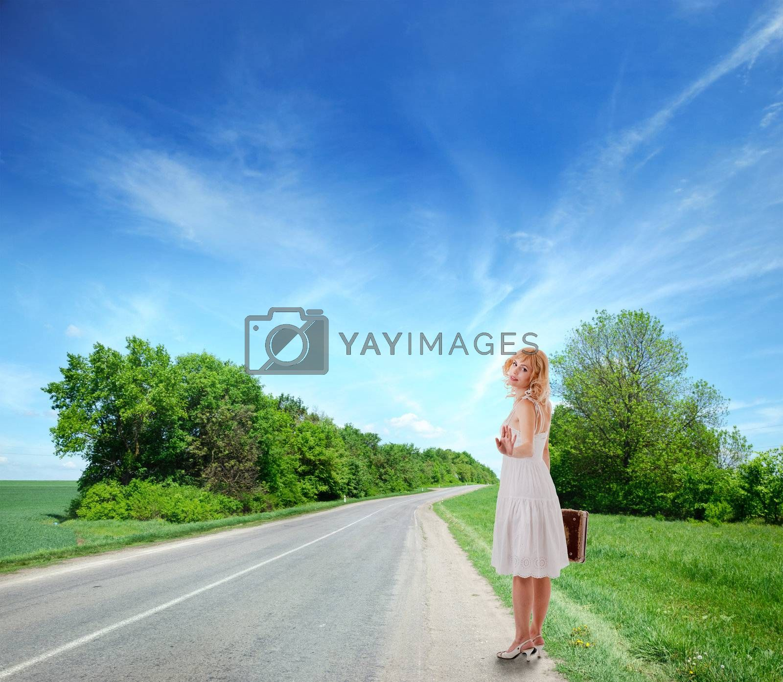 portrait of a girl in a rustic white dress . Isolated with clipping path
