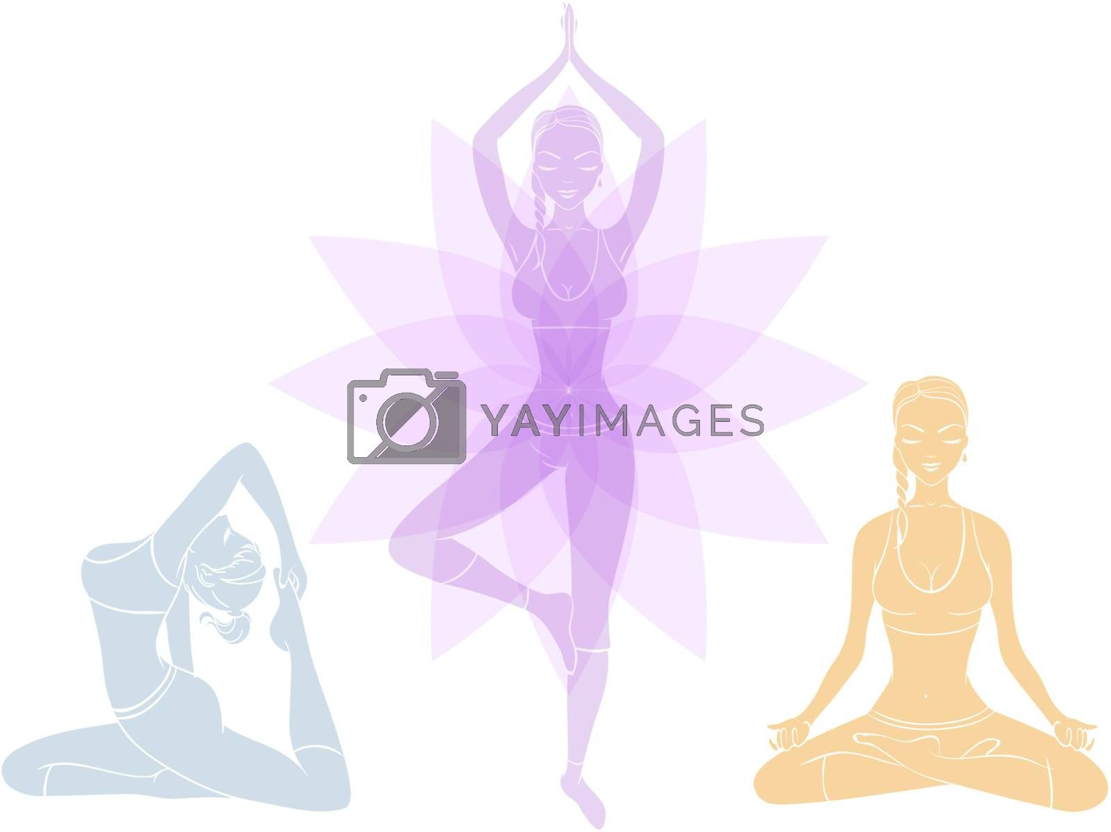 Vector illustration of Beautiful woman doing youga exercises