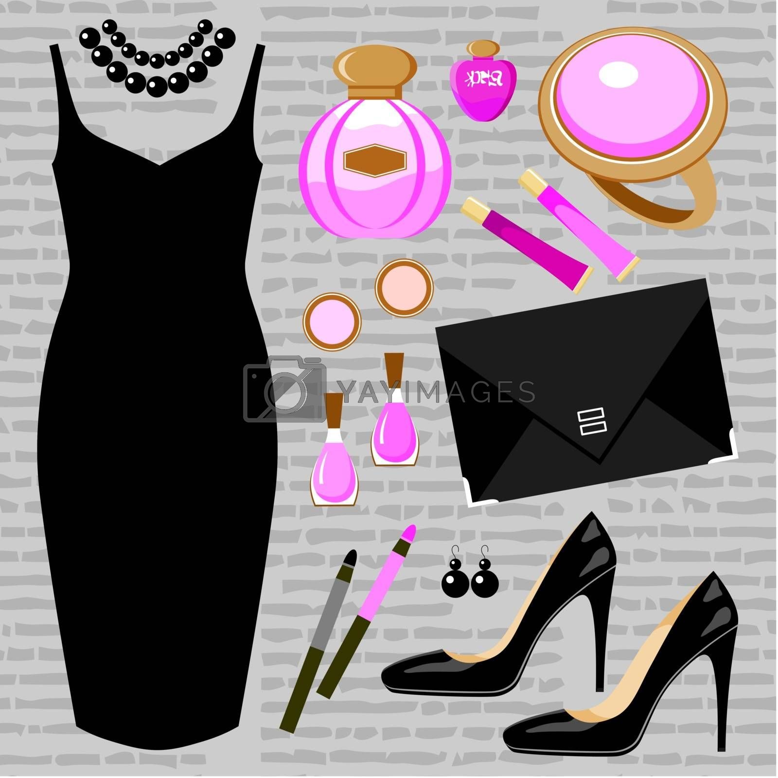 Fashion set with a cocktail dress by GurZZZa