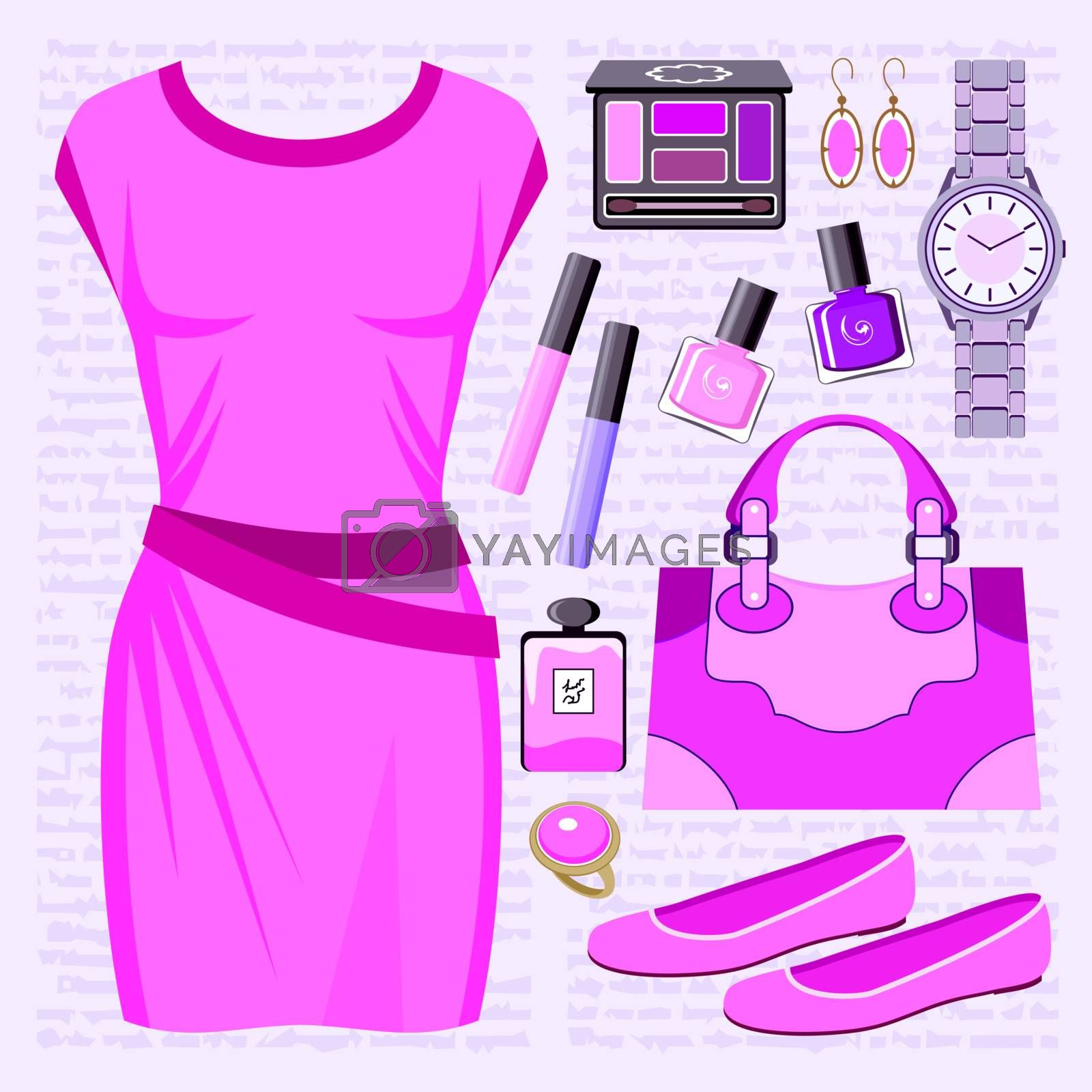 Fashion set with a casual dress
