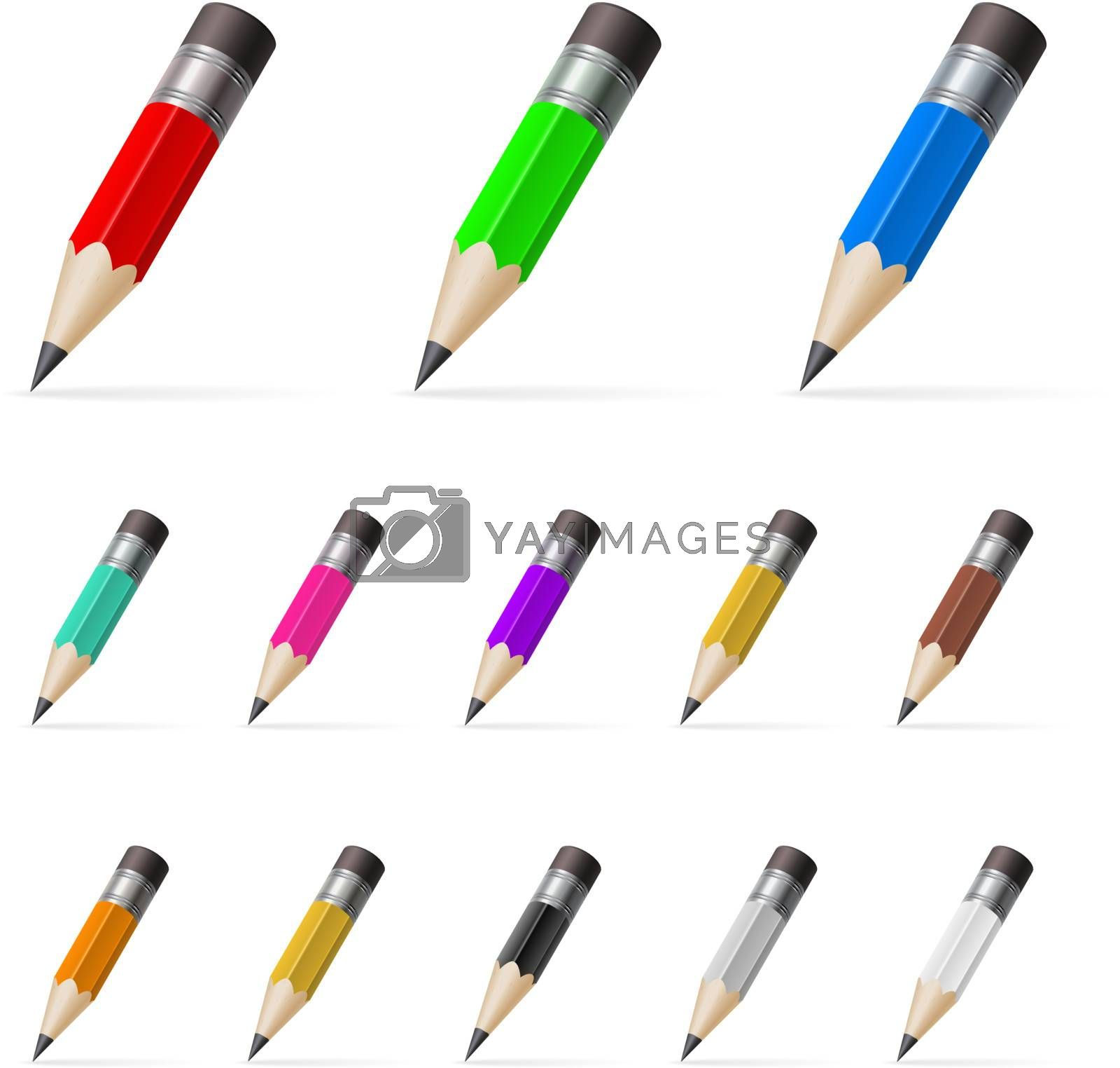 Rows of standing color pencils by dvarg