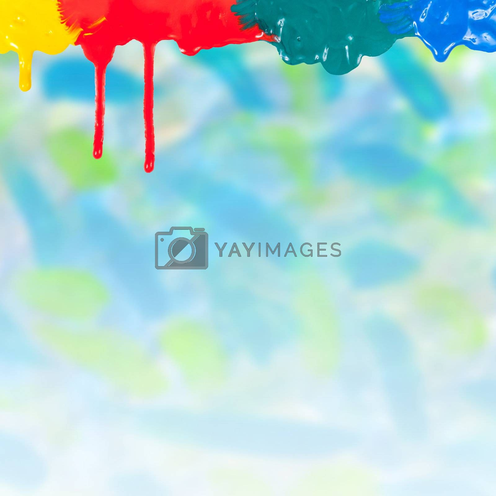 Abstract paints dripping on colorful background