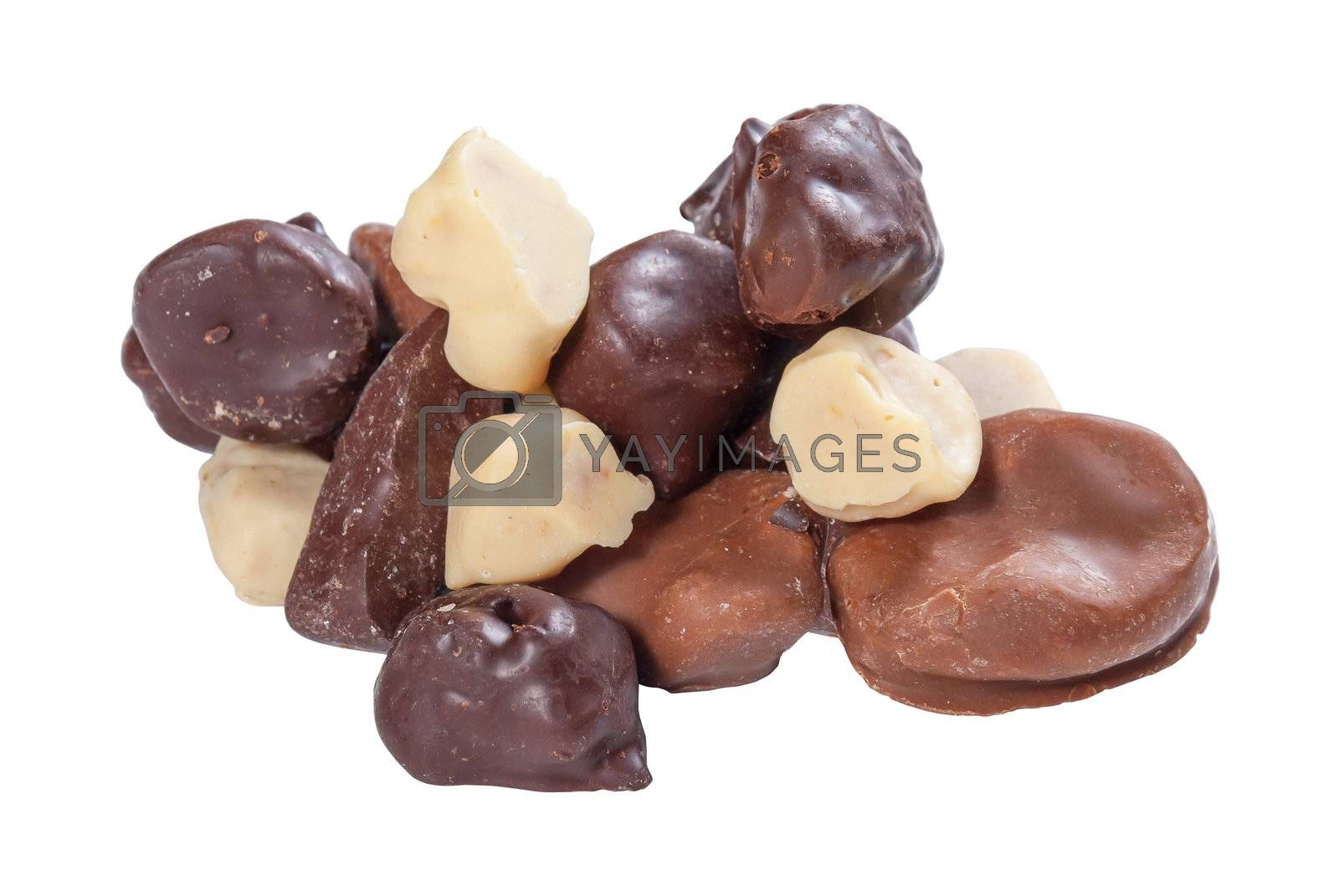 Various chocolate candies homemade isolated on white background