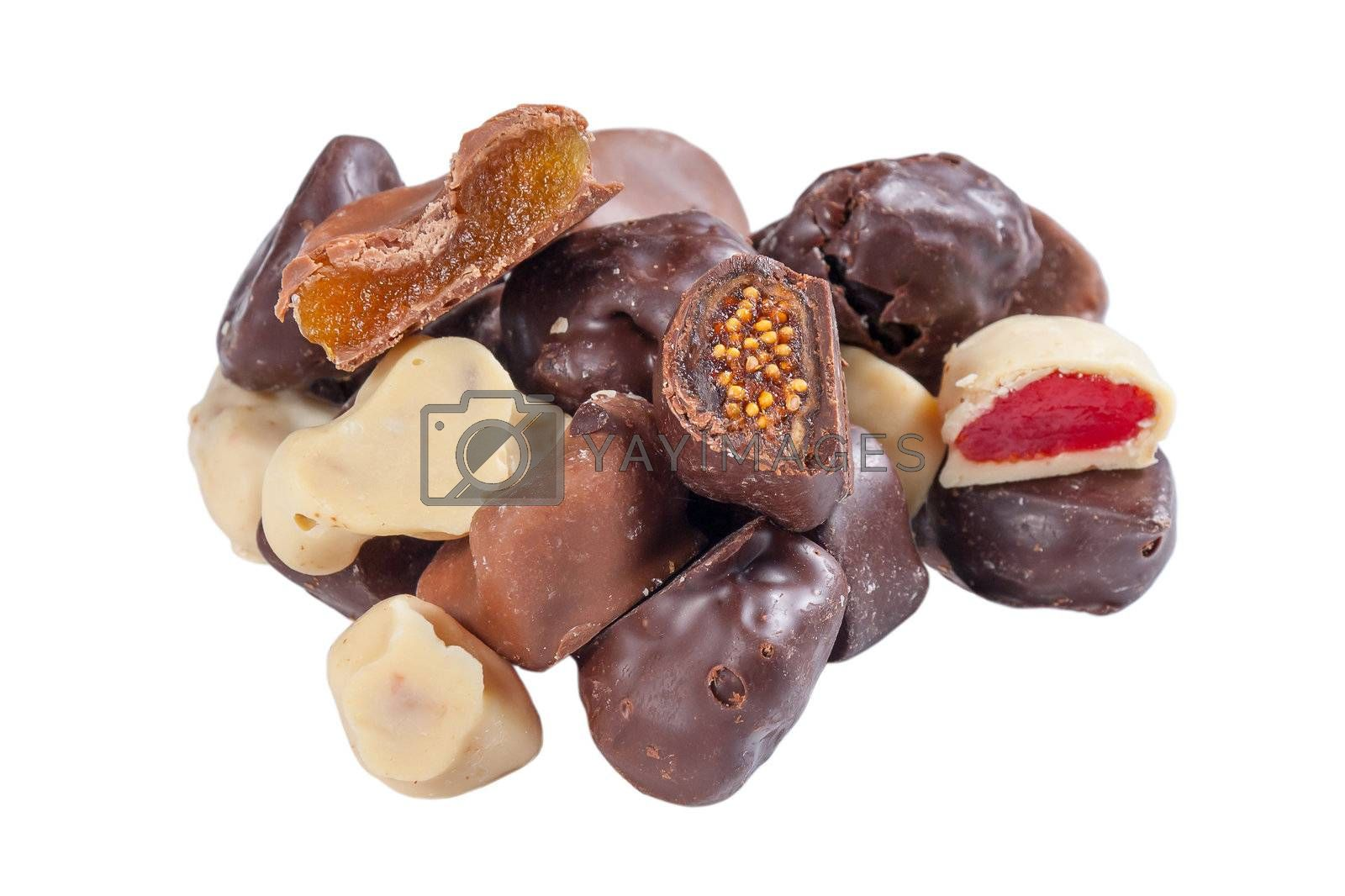 Various fruits in chocolates by firewings