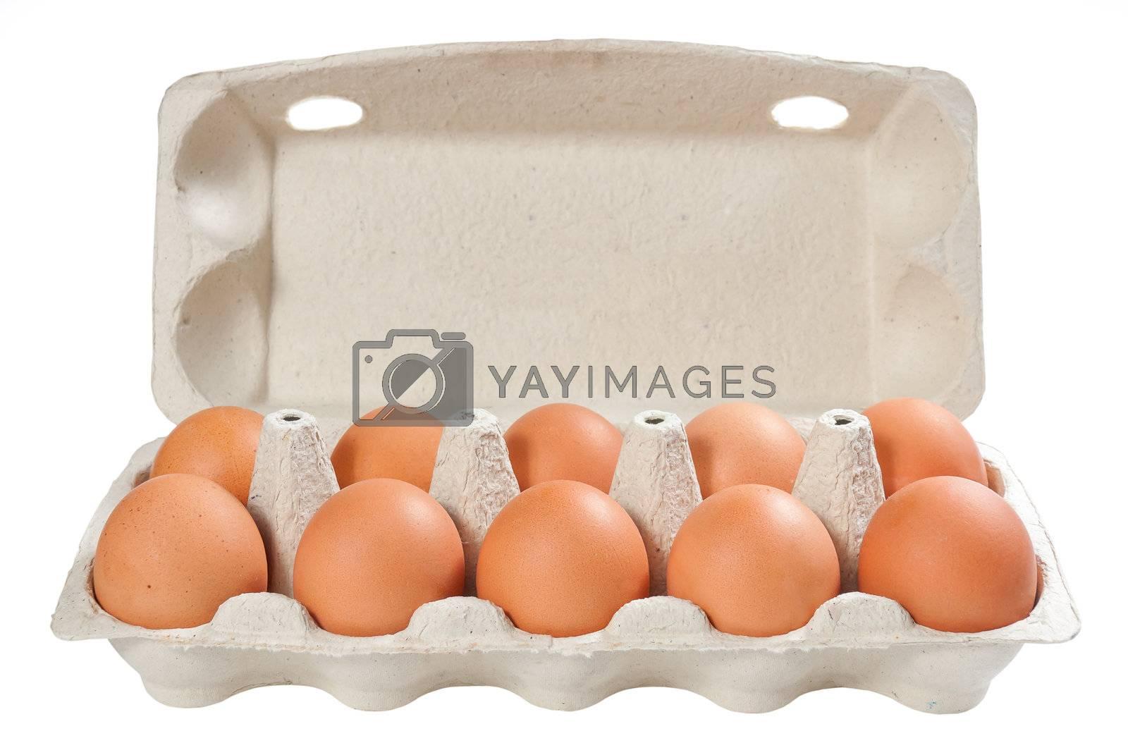 Eggs in open carton package by firewings