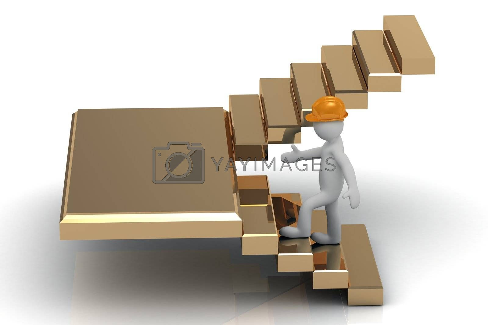 3D man in an orange construction helmet up the golden stairs. Abstraction illustration